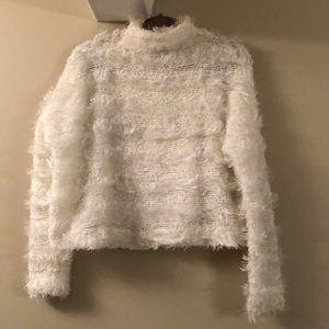 Nasty Gal white cropped turtleneck sweater